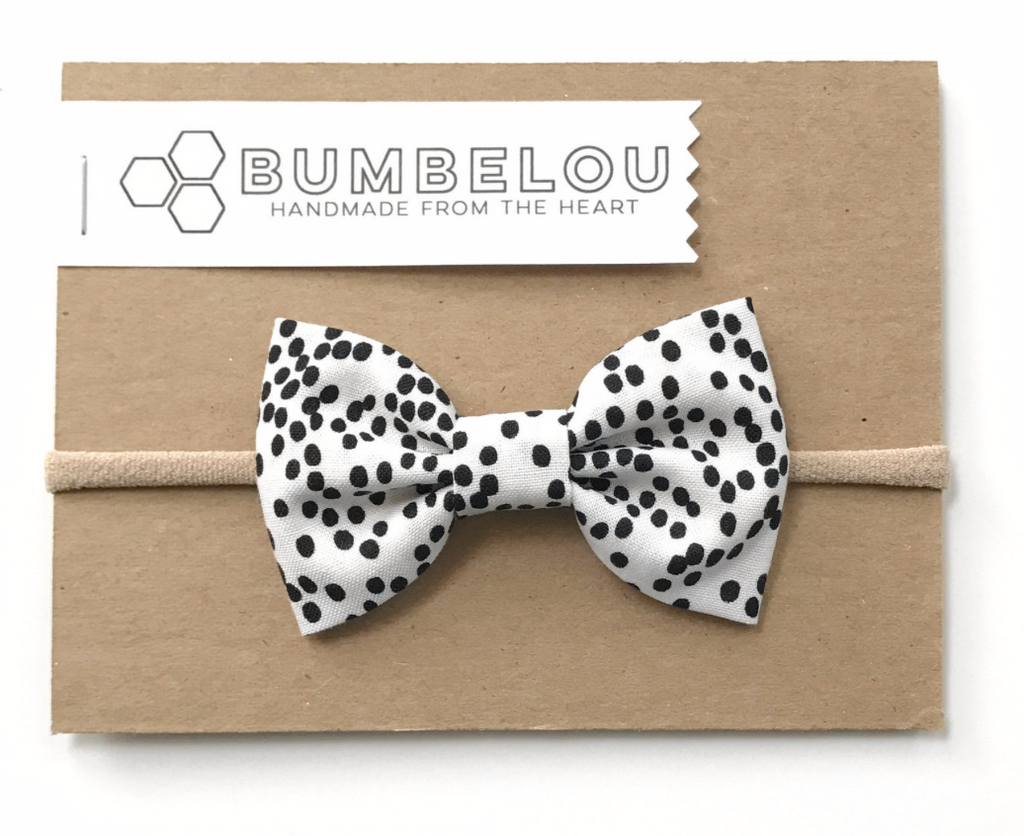 Bumbelou Classic Bow Headband - Black & White Dotty