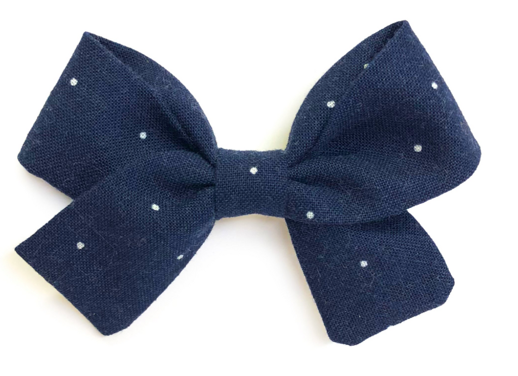 Bumbelou Jane Bow Clip - Navy Mini Dot