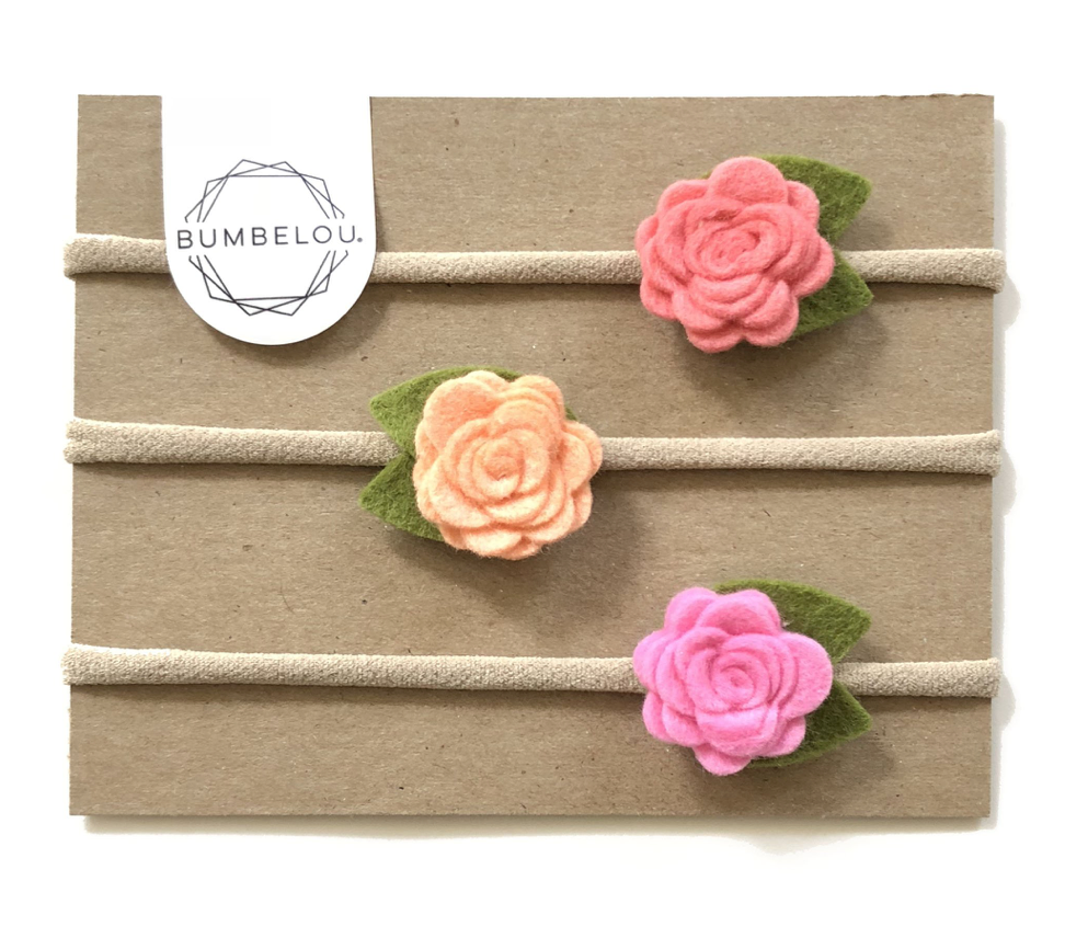 Bumbelou 3 Mini Roses Headband - Coral/ Peach/ Cotton Candy