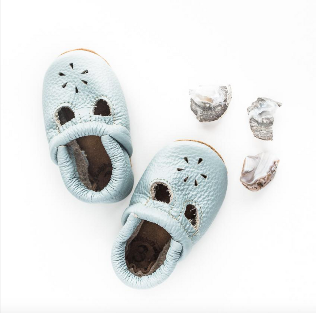 Starry Knight Design Moccasin - T-Strap - Powder Blue