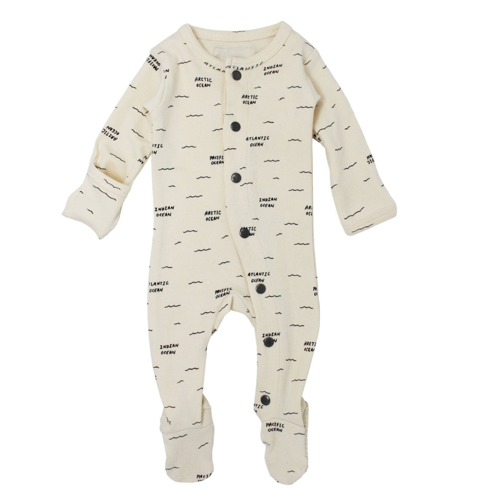 L'ovedbaby Organic Footed Overall - Beige Seas