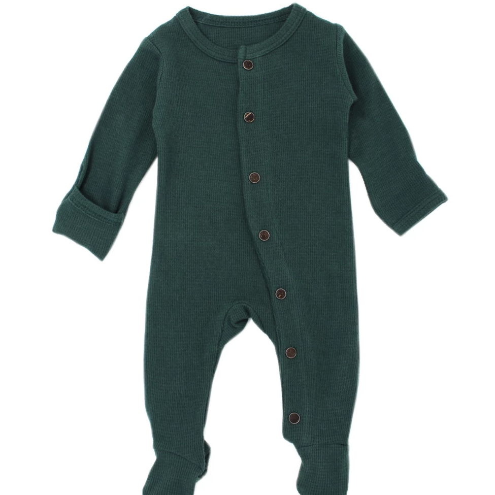 L'ovedbaby Organic Thermal Footed Overall - Pine