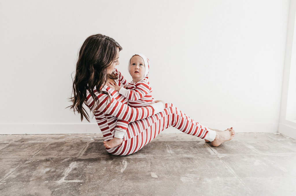 L'ovedbaby Holiday Women's Onesie & Cap Set - Peppermint Stripe