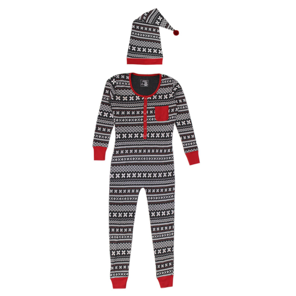 L'ovedbaby Holiday Women's Onesie & Cap Set - XOXO Fair Isle