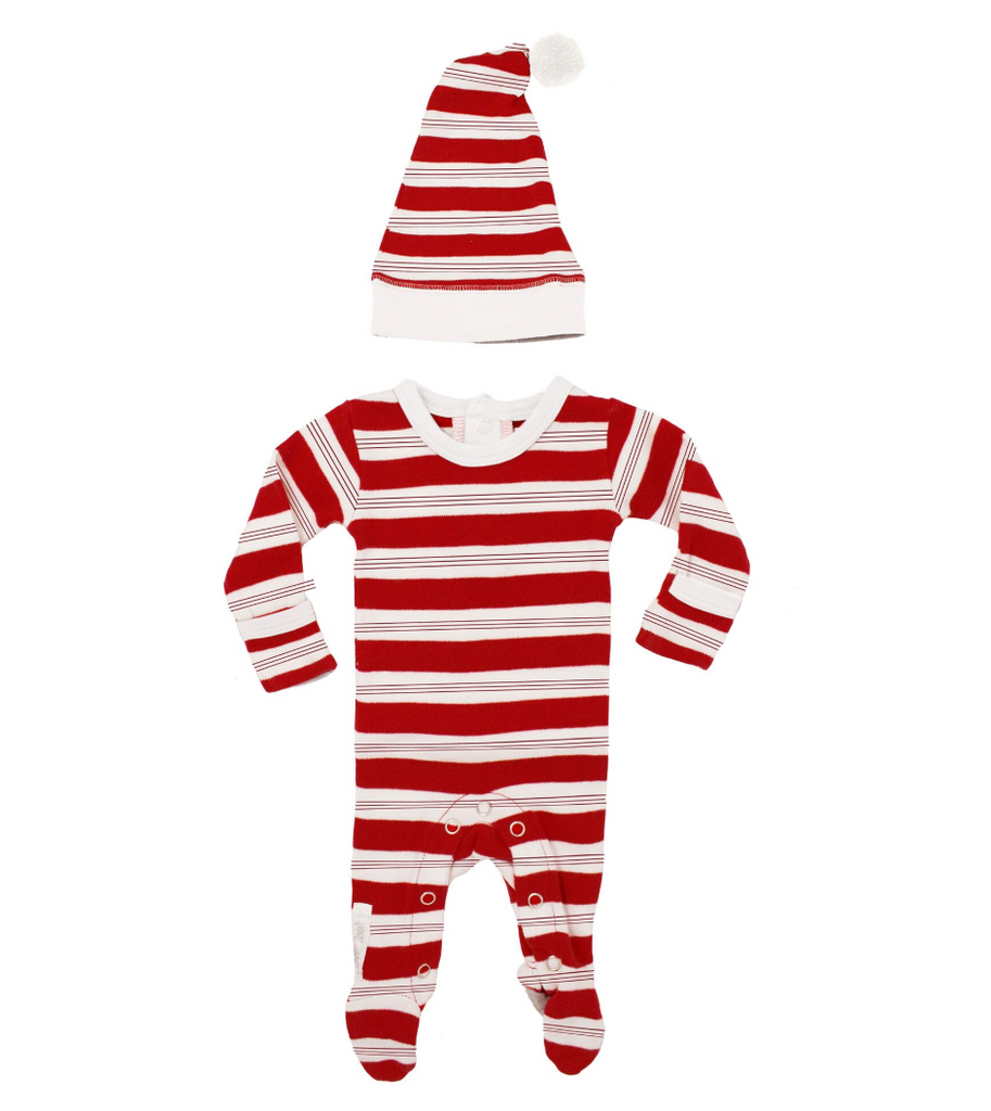 L'ovedbaby Holiday Overall & Cap Set - Peppermint stripe