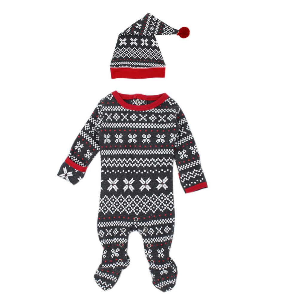 L'ovedbaby Holiday Overall & Cap Set - XOXO Fair Isle
