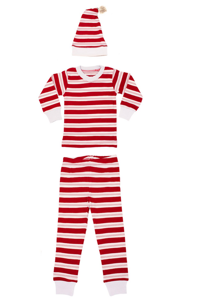 L'ovedbaby Holiday Long-Sleeve PJ & Cap Set - Peppermint Stripe