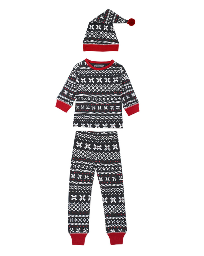 L'ovedbaby Holiday Long-Sleeve PJ & Cap Set - XOXO Fair Isle