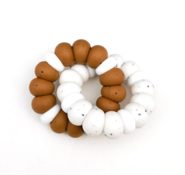 Silicone Freezer Teether - Aspen Duo - Speckled Almond