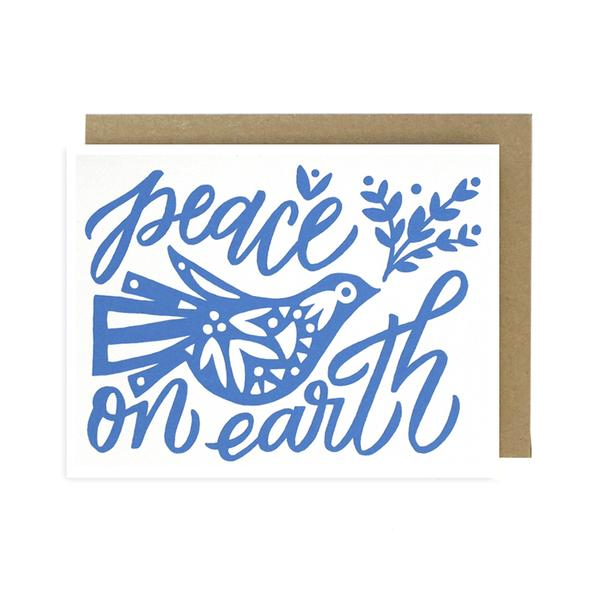 Worthwhile Paper Screen Printed Folding Card - Peace on Earth