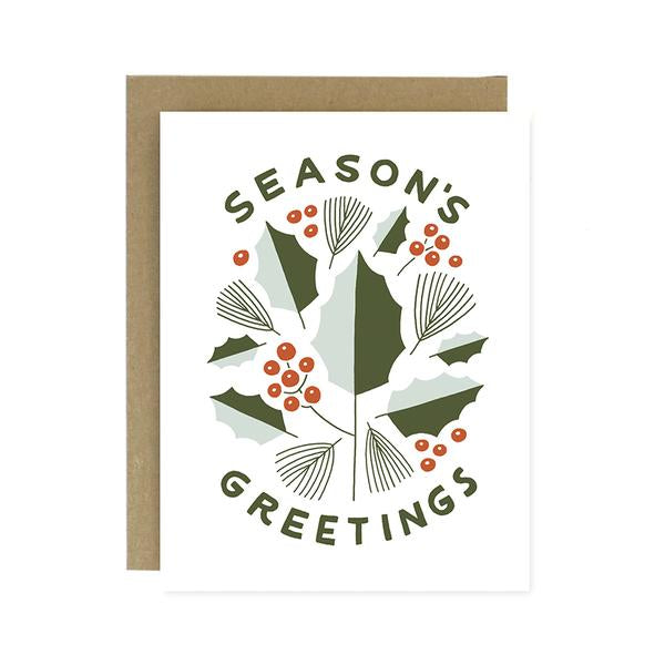 Worthwhile Paper Screen Printed Folding Card - Season's Greetings (Holly)