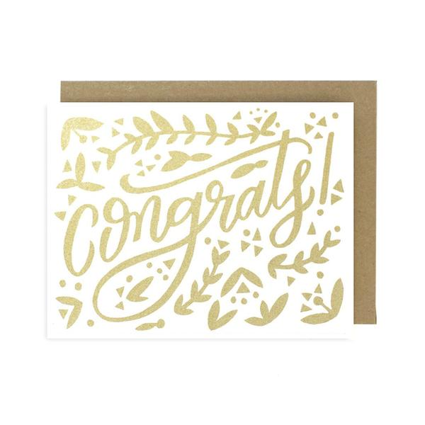 Worthwhile Paper Screen Printed Folding Card - Congrats (Gold)