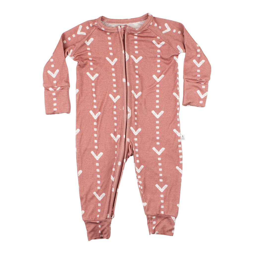 Dusty Mauve Arrows Zip Romper