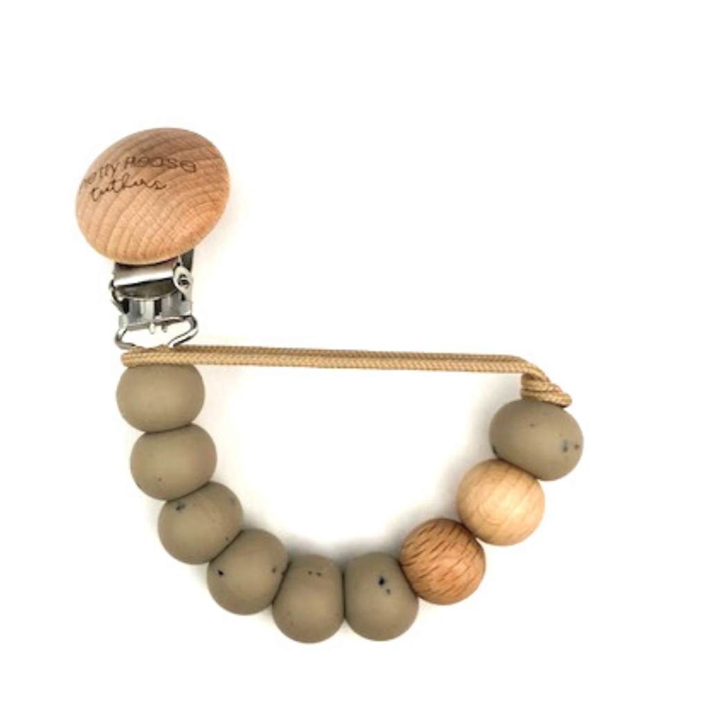 Magnolia Classic Pacifier Clip - Speckled Taupe