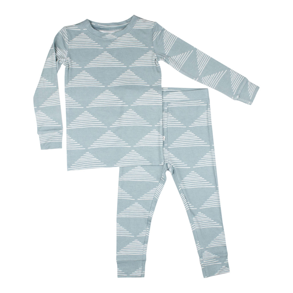 Blue Triangles Two Piece Bamboo Pajama Set
