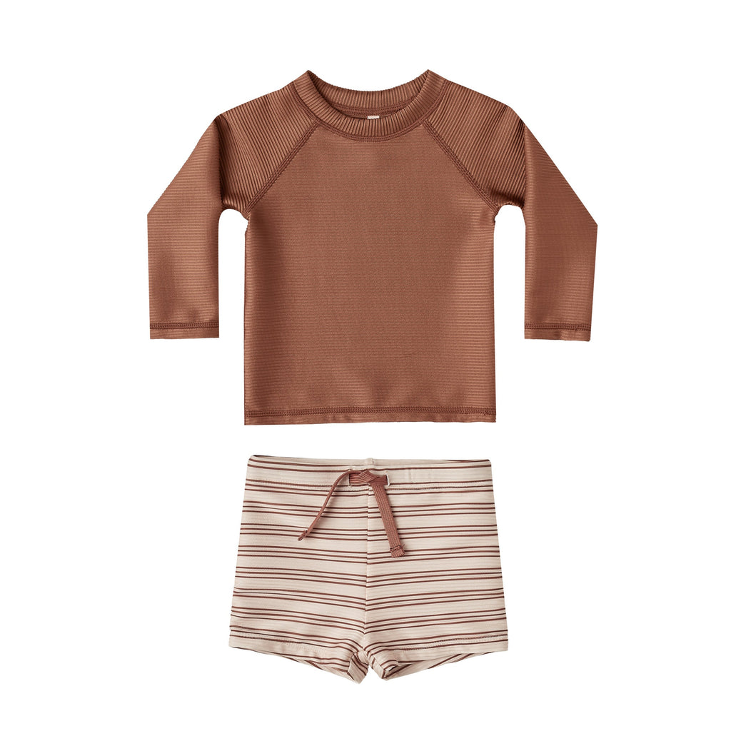 Rylee + Cru Rash Guard Set - Amber Stripe