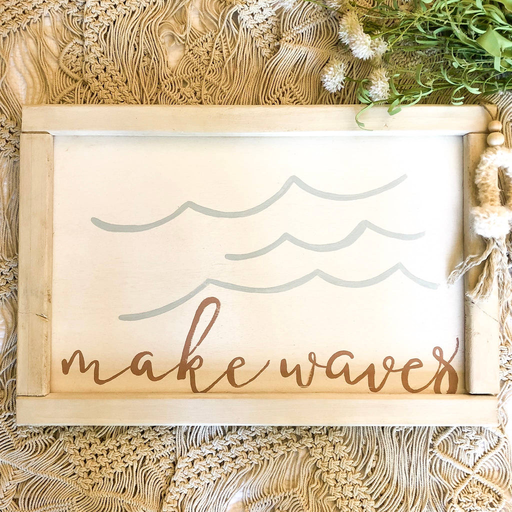 love, Holston - Make Waves - 16x24 Wooden Sign (pink)