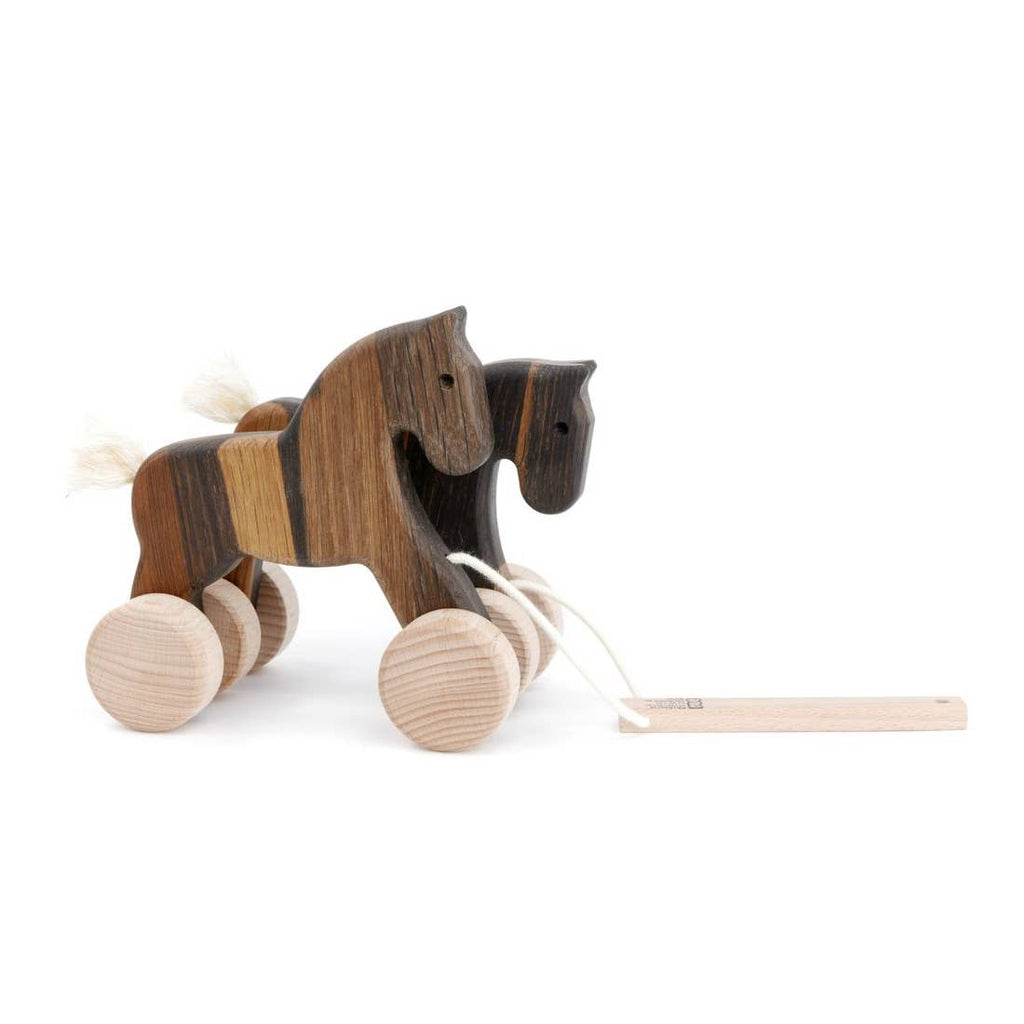 Bajo Wooden Jumping Horses Pull Toy - Dark Oak