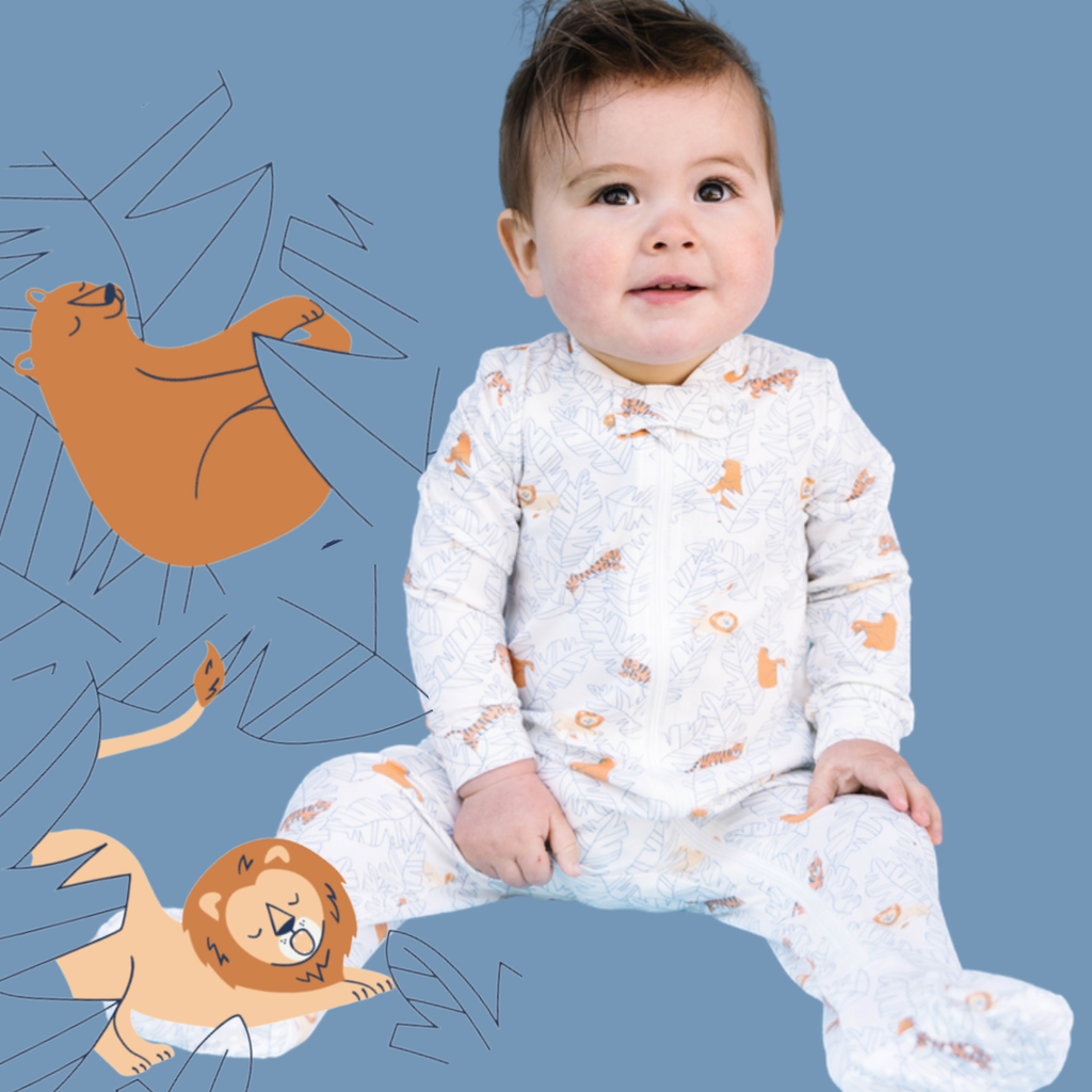 Lions Tigers & Bears Zip Up Romper Footie