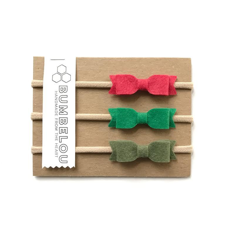 Bumbelou Mini Bows Headband Set  - Red, Green, Pine