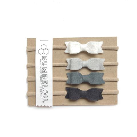 Bumbelou Mini Bows Headband Set - Classic Neutrals