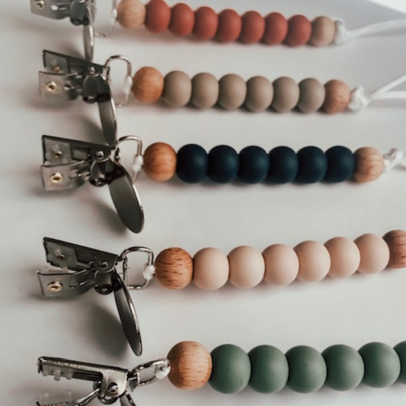 Pretty Please Boutique Teethers - Sand || Erin Petite pacifier Clip || Silicone + Wood