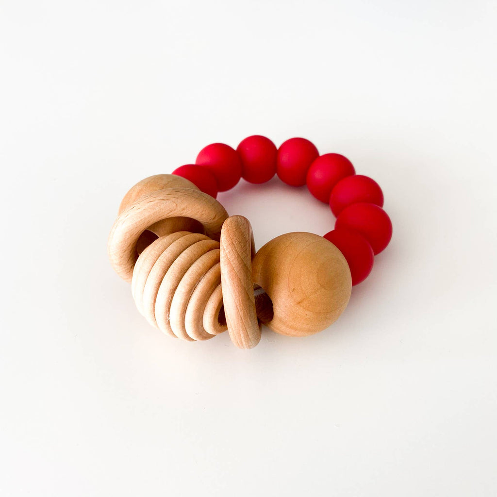 Silicone + Wood Teething Rattle - Red