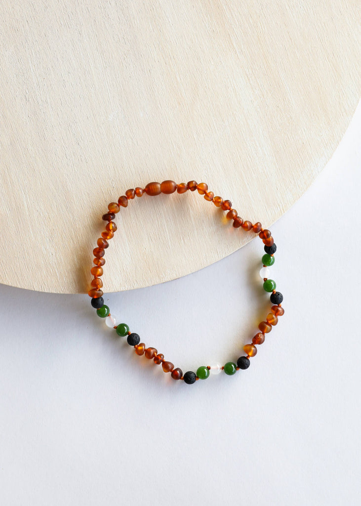 CanyonLeaf - Raw Cognac Amber + Lava + Jade + Agate Necklace