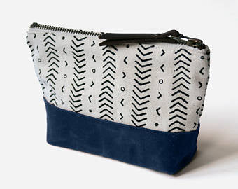 Jessica Necor Studio Medium Wedge Zipper Pouch Clutch Makeup Bag 'Coastal'