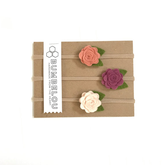 Bumbelou - 3 mini rose headbands - Plum/ Grapefruit / Parchment