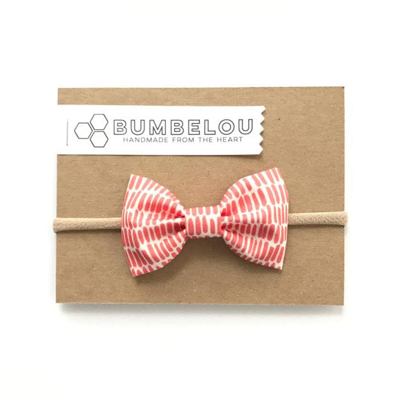 Bumbelou - Classic Fabric Bow - Red Strike Out