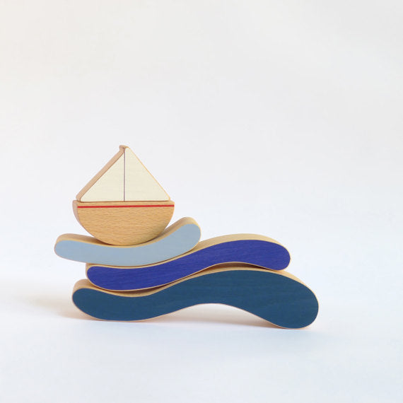 The Wandering Workshop Wooden Stacking and Balance Toy - Boat and Waves