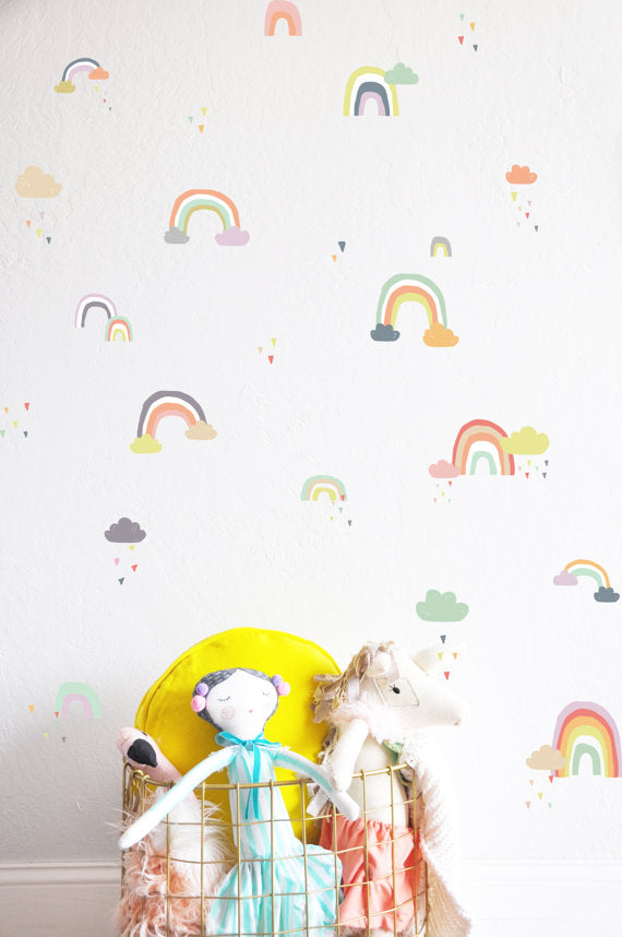 The Lovely Wall Co. Wall Decals - Rainy Rainbows