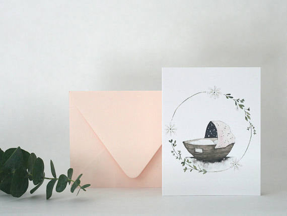 Saltwater and Feathers - Welcome Little One greeting card
