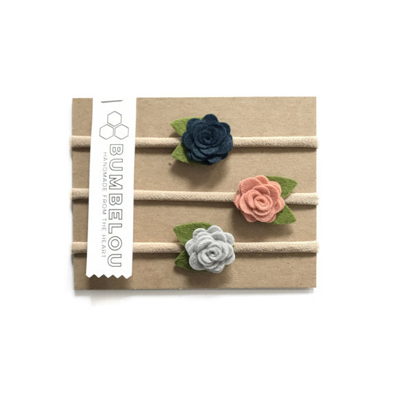 Bumbelou - 3 mini roses headbands - Navy/ Peach/ Silver