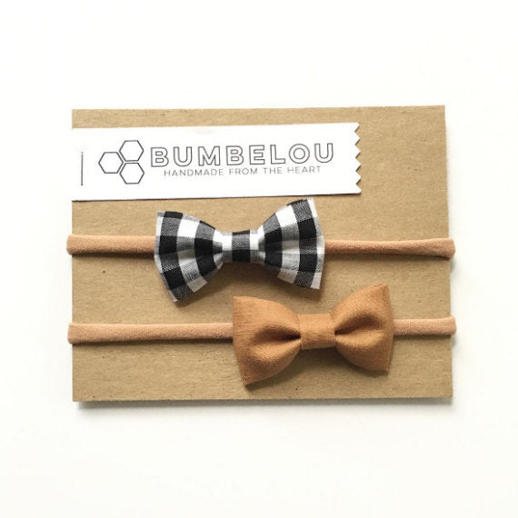 Bumbelou - Classic Fabric Bow Set - Camel and B+W Gingham