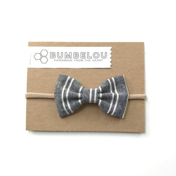 Bumbelou - Classic Fabric Bow - Dark Chambray Stripe