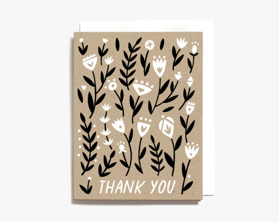 Worthwhile Paper Screen Printed Folding Card - Thank You Floral