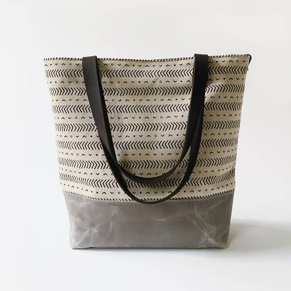 "Jessica Necor Studio Waxed Canvas Print Tote Bag with Leather Straps - ""Coastal"""