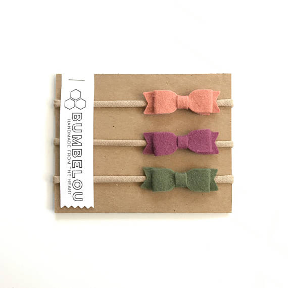 Bumbelou - 3 mini bow headbands - Grapefruit, Plum, and Olive
