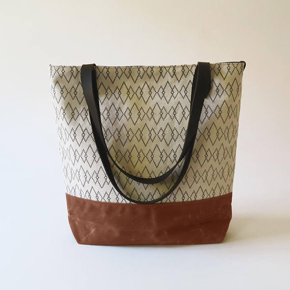 Jessica Necor Studio Waxed Canvas Printed Bag with Leather Straps 'Canyon'