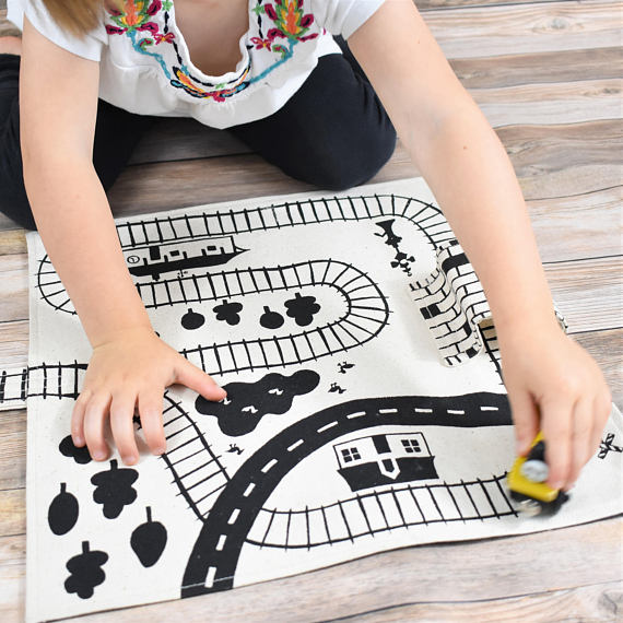 So Handmade Train Playmat