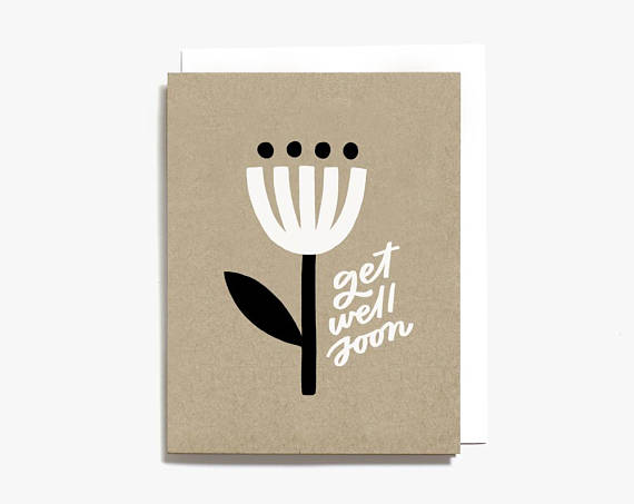 Worthwhile Paper Screen Printed Folding Card - Get Well Soon Minimal Flower