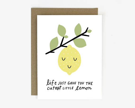 Worthwhile Paper Screen Printed Folding Card - Cutest Little Lemon