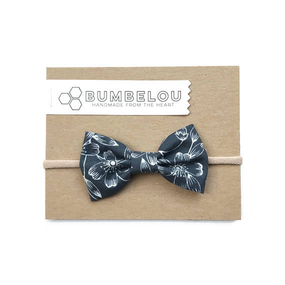 Bumbelou - Classic Fabric Bow - Blockprint Floral in Lead