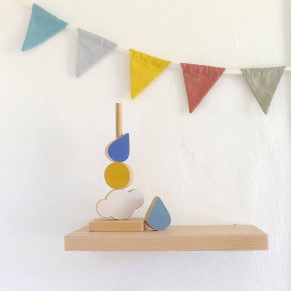 The Wandering Workshop Wooden Stacking Toy - Cloud, Sun, Raindrop