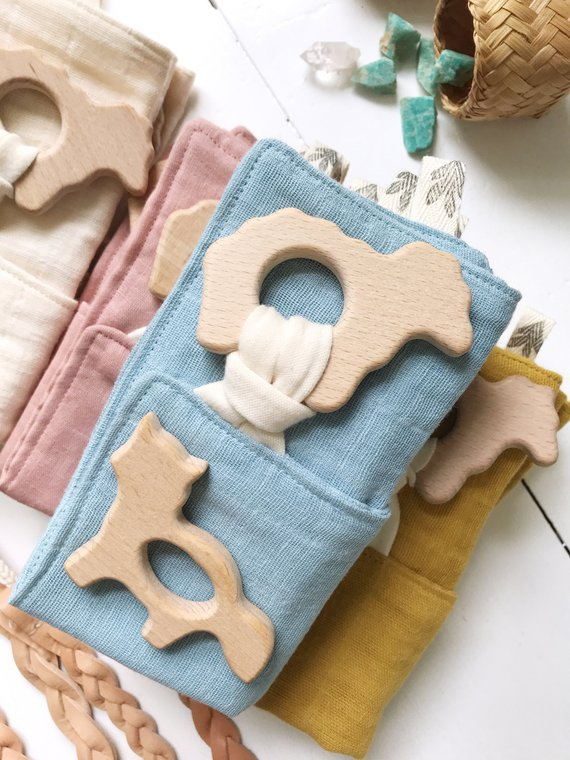 The Bird & Elephant Muslin Lovey Blanket with Wood Teethers - 10x10in