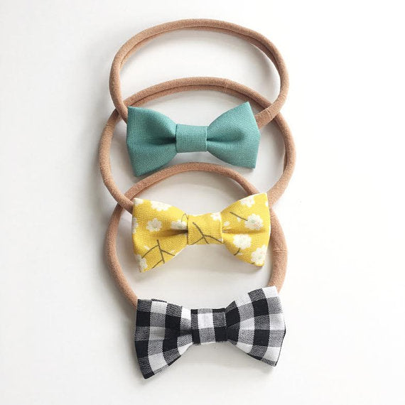 Bumbelou - Fabric Bow Headband - Sky, Mustard Floral, Buffalo Check