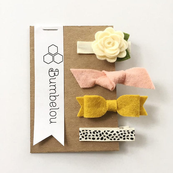 Bumbelou - Hair Clip Sets - Ivory Rose, Peach Knot, Mustard Bow - Dotty Clip