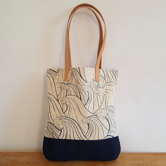 Chloe Derderian Gilbert Organic Tote with Natural Leather Shoulder Strap - Waves